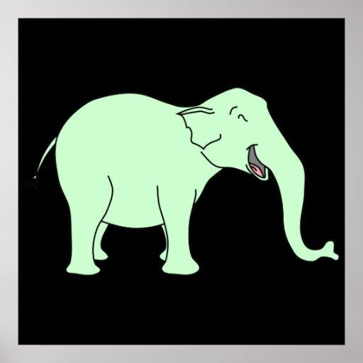 Elefante de riso verde. Desenhos animados Posters