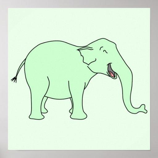 Elefante de riso verde. Desenhos animados Posteres