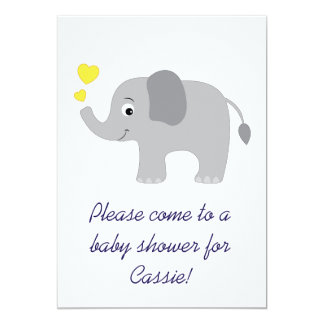 Elefante do bebê com convite amarelo do chá dos