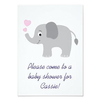 Elefante do bebê com convite cor-de-rosa do chá