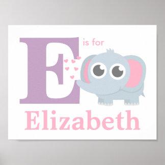 Elefante do bebê da letra E com a decoração da Poster