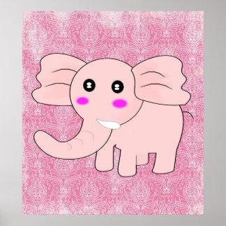Elefante do bebê dos desenhos animados no rosa no  posters