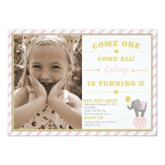 Elefante do circo do vintage - aniversário de 3 convite 12.7 x 17.78cm