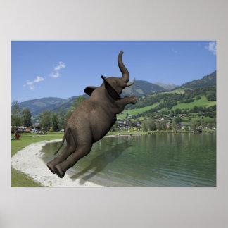 Elefante do falhanço de barriga poster