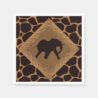 Elefante do tema do safari sobre o impressão do guardanapo de papel