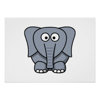 Elefante dos desenhos animados pôsteres