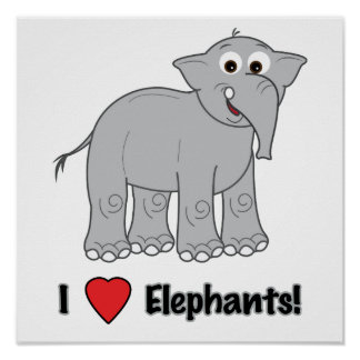 Elefante dos desenhos animados posteres