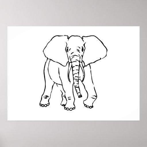 Elefante dos desenhos animados posters