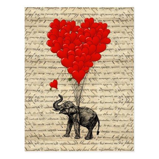 Elefante e balões dados forma coração cartões postais
