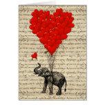 Elefante e balões dados forma coração cartoes