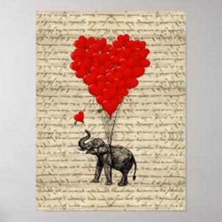 Elefante e balões dados forma coração poster