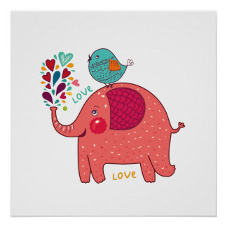 Elefante e pássaro vermelhos pôster
