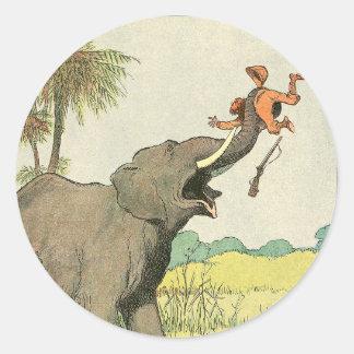 Elefante e Poacher na selva Adesivo