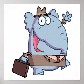 elefante engraçado com desenhos animados da pasta poster