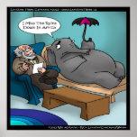 Elefante engraçado no poster da terapia