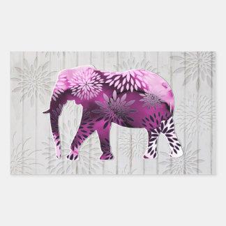 Elefante floral colorido lunático no design de adesivos em formato retangulares