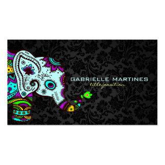 Elefante floral retro colorido & damascos pretos 2 cartão de visita