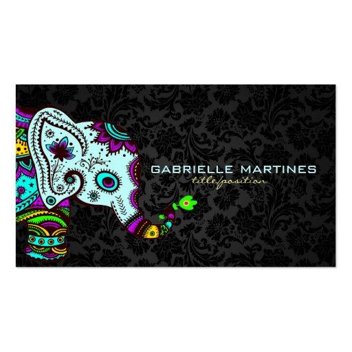 Elefante floral retro colorido & damascos pretos 2 modelo cartoes de visita