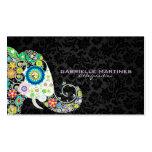 Elefante floral retro colorido & damascos pretos cartoes de visita