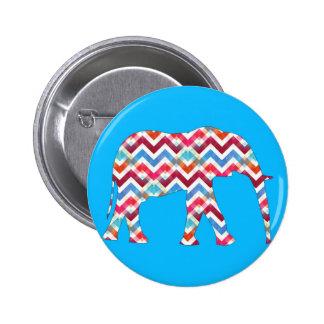 Elefante Funky de Chevron do ziguezague no azul da Pins