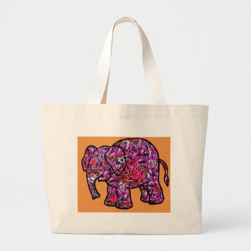 elefante funky vívido dos grafites bolsas para compras