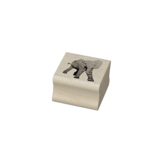 Elefante gravado do bebê carimbo de borracha