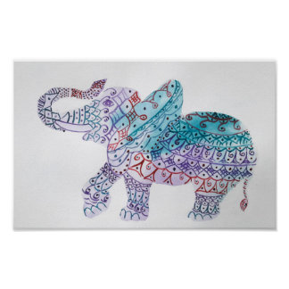 Elefante indiano, poster da aguarela