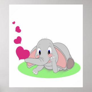 Elefante pequeno que funde corações cor-de-rosa poster