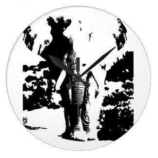 Elefante preto e branco do impressão do relógio