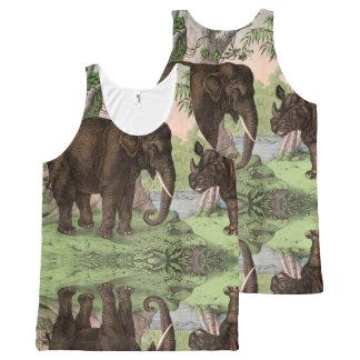 Elefante reversível/rinoceronte de Vinatge Regata Com Estampa Completa