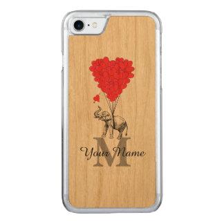 Elefante romântico engraçado capa iPhone 7 carved