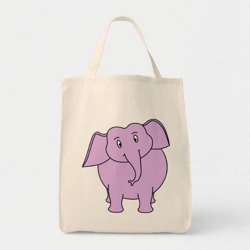 Elefante roxo. Desenhos animados Bolsa De Lona
