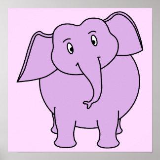 Elefante roxo. Desenhos animados Pôsteres