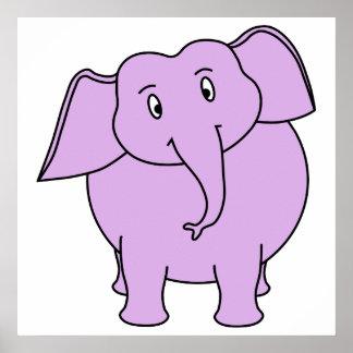 Elefante roxo. Desenhos animados Poster
