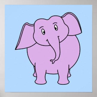 Elefante roxo Desenhos animados Posteres
