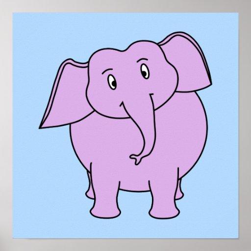 Elefante roxo. Desenhos animados Posteres