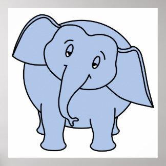 Elefante sonolento azul Desenhos animados Poster