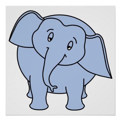 Elefante sonolento azul. Desenhos animados Poster