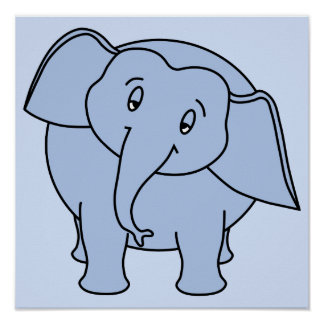 Elefante sonolento azul Desenhos animados Posteres