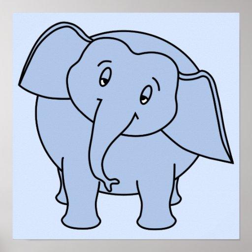 Elefante sonolento azul. Desenhos animados Posteres