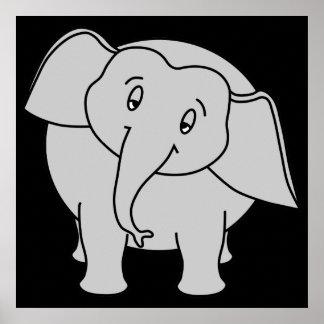 Elefante sonolento cinzento. Desenhos animados Impressão