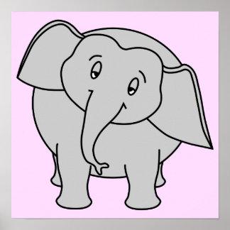 Elefante sonolento cinzento Desenhos animados Posteres