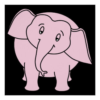Elefante sonolento cor-de-rosa Desenhos animados Poster