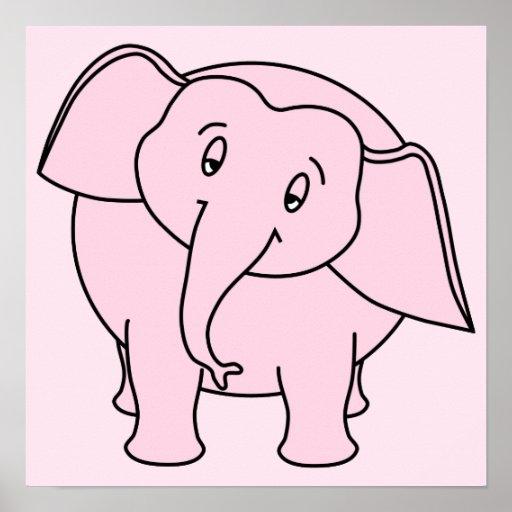 Elefante sonolento cor-de-rosa. Desenhos animados Poster