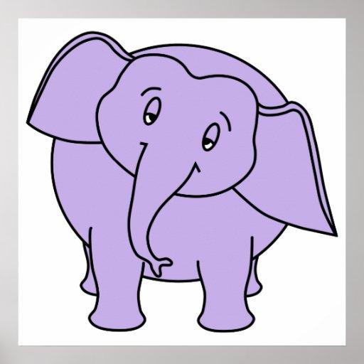 Elefante sonolento roxo. Desenhos animados Posters