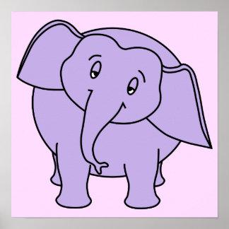 Elefante sonolento roxo. Desenhos animados Poster