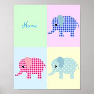 Elefantes coloridos dos desenhos animados poster