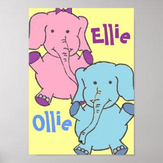 Elefantes cor-de-rosa e azuis impressão