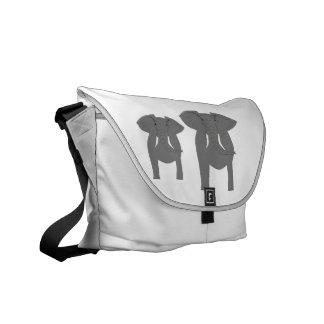 Elefantes, dianteiro e traseiro vista! bolsa mensageiro