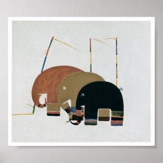 Elefantes do estilo do art deco pôster